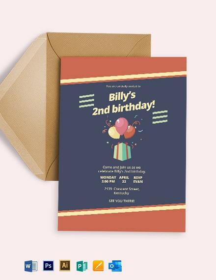 Retro Children's Party Invitation Template