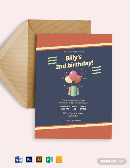 Retro Childrens Party Invitation Template Download 1 587