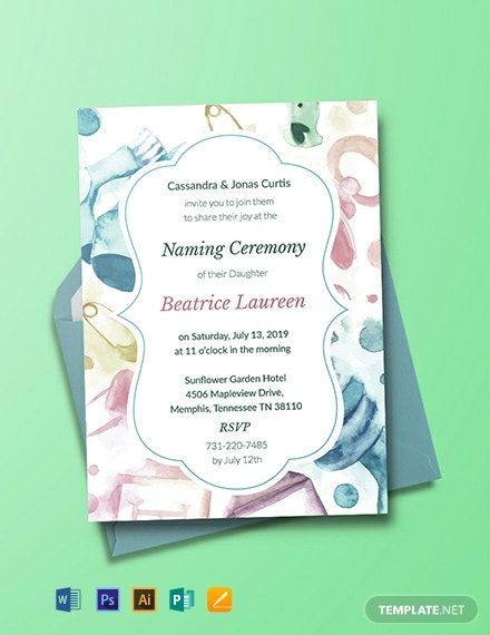 Free Baby Naming Ceremony Invitation Template Word Psd