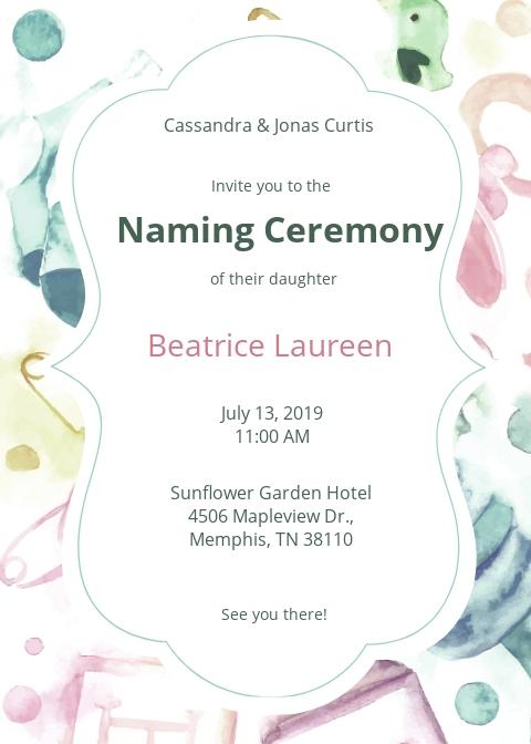 Free Naming Ceremony Invitation Template