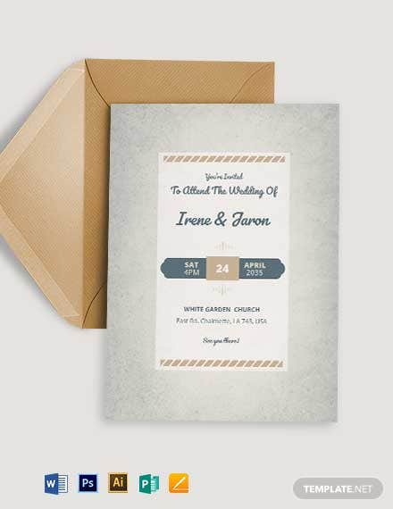 Retro Fall Wedding Invitation Template