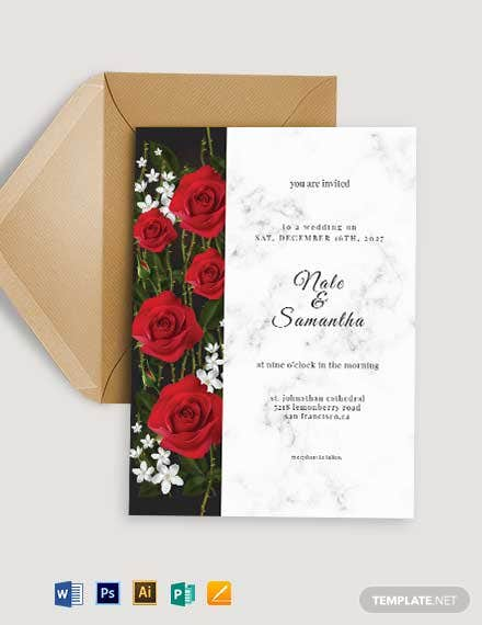 Roses Fall Wedding Invitation Template