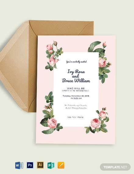 Rosy Fall Wedding Invitation Template