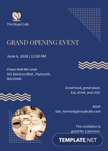 Royal Cafe Opening Invitation Template