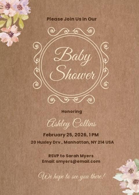 Rustic Baby Shower Invitation Template.jpe