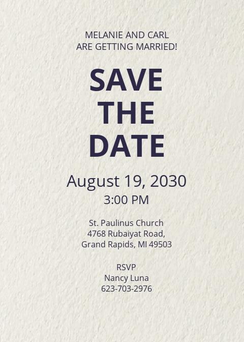 Save The Date RSVP Invitation Template