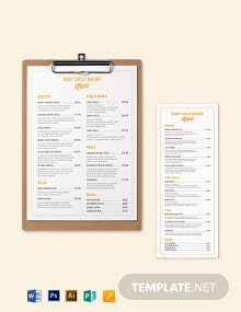 Elegant Burger Menu Template