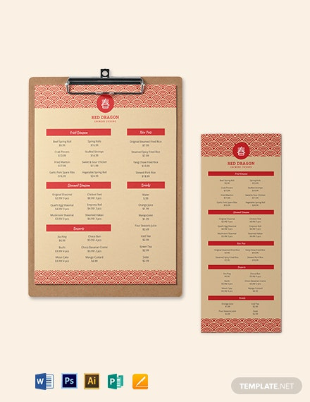 Chinese Menu Template