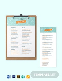 Creative Dinner Menu Template