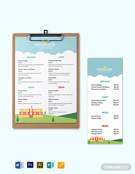 nursery school menu template