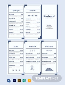 Food Trifold Menu Template