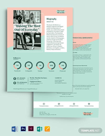 Lifestyle Media Kit Template