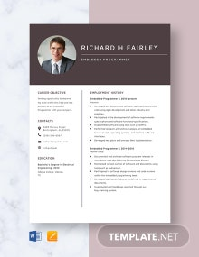 Embedded Programmer Resume Template