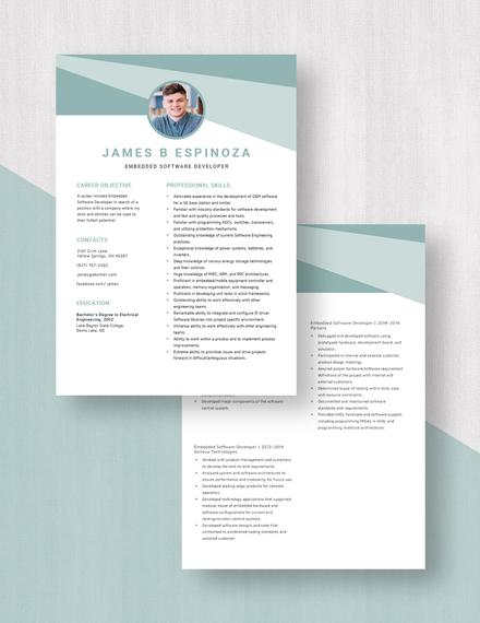 Embedded Software Developer Resume  Download
