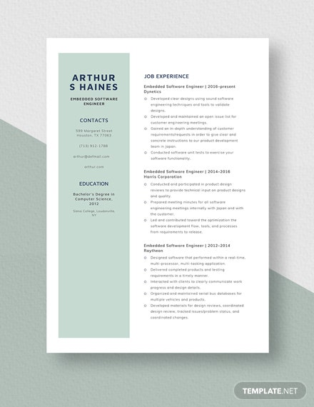 Embedded Software Engineer Resume Template Word Doc Apple Mac Pages Template Net