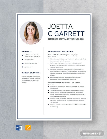 Embedded Software Test Engineer Resume Template