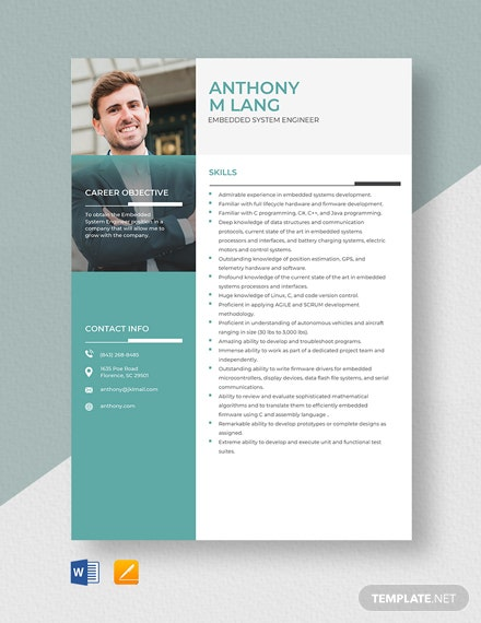 Embedded System Engineer Resume Template