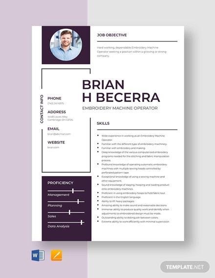 Embroidery Machine Operator Resume Template