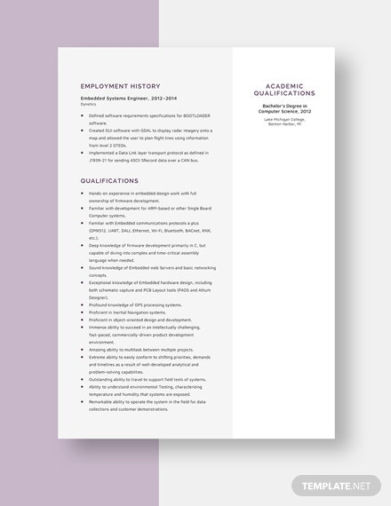 Embedded Systems Engineer Resume Template - Word | Apple ...
