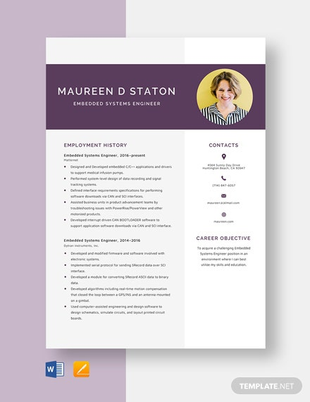 Embedded Systems Engineer Resume Template