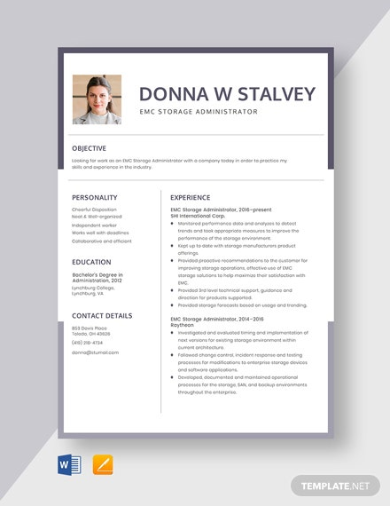 EMC Storage Administrator Resume Template