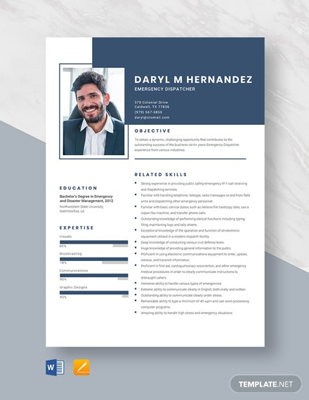 Emergency Dispatcher Resume Template