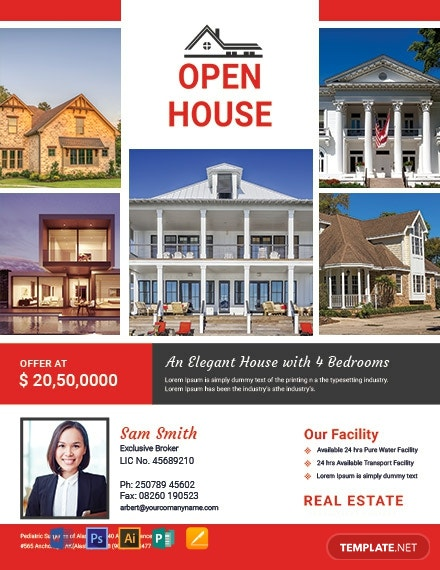 free broker open house flyer template word psd apple