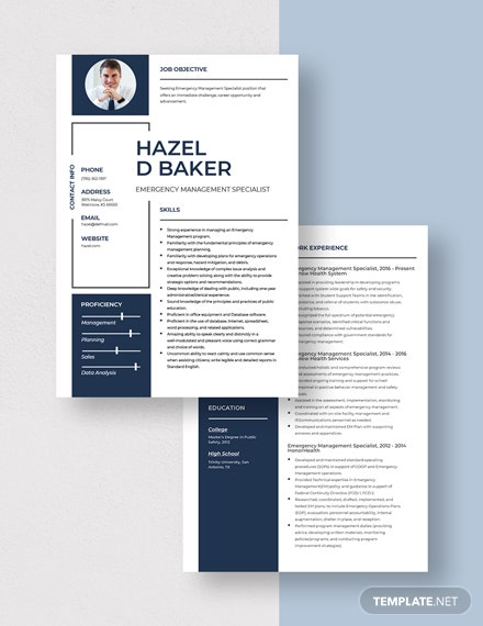Emergency Management Specialist Resume  Download