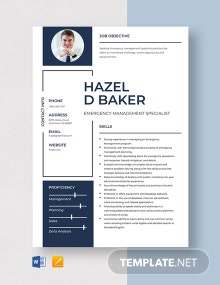 Emergency Management Specialist Resume Template