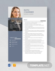 Emergency Manager Resume Template