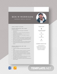 Emergency Medical Services Resume Template