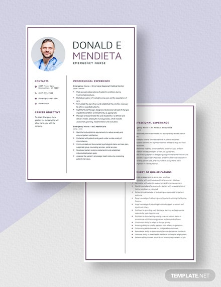 Emergency Nurse Resume Download