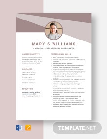 Emergency Preparedness Coordinator Resume Template