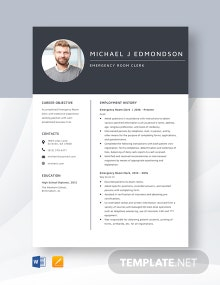 Emergency Room Clerk Resume Template