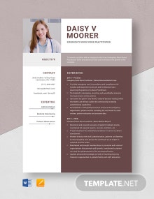Emergency Room Nurse Practitioner Resume Template