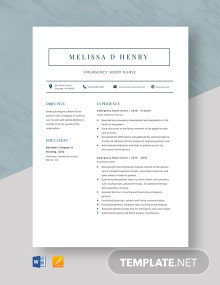Emergency Room Nurse Resume Template