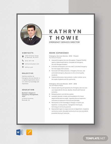 Emergency Services Director Resume Template