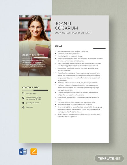 Emerging Technologies Librarian Resume Template