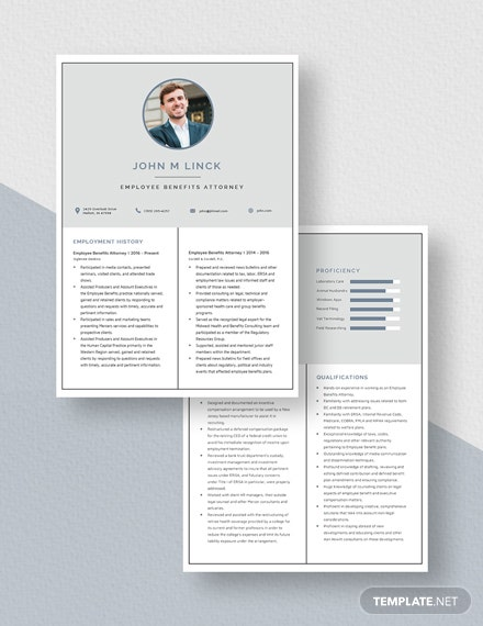 Employee Benefits Attorney Resume  Download