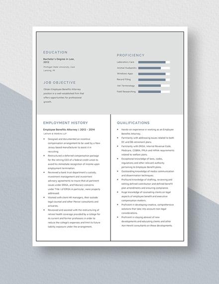 Employee Benefits Attorney Resume  Template