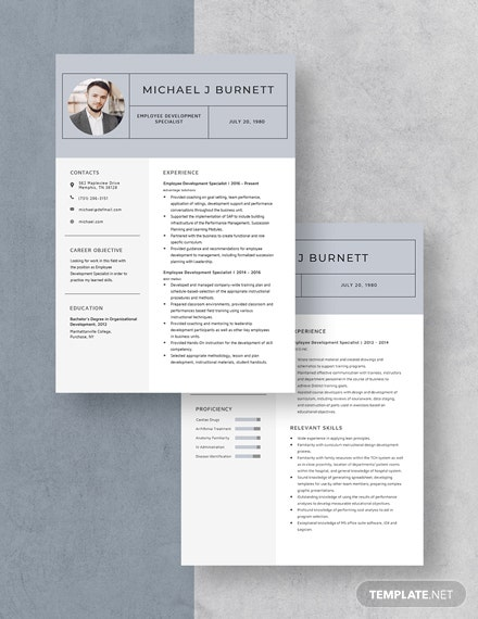 Employee Development Specialist Resume  Download