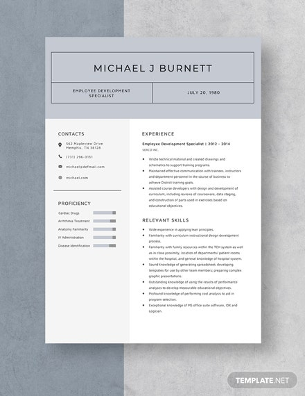 Employee Development Specialist Resume  Template