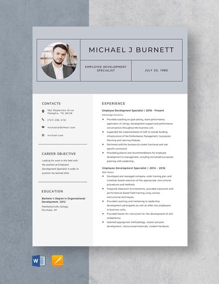 Employee Development Specialist Resume