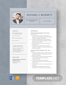 Employee Development Specialist Resume Template