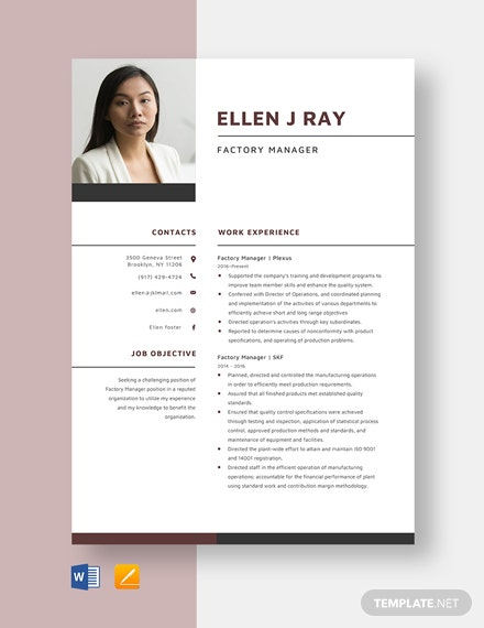 Factory Manager Resume Template