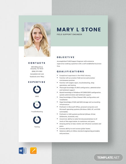 Field Support Engineer Resume Template