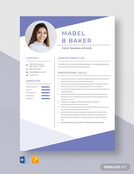 Field Training Officer Resume Template