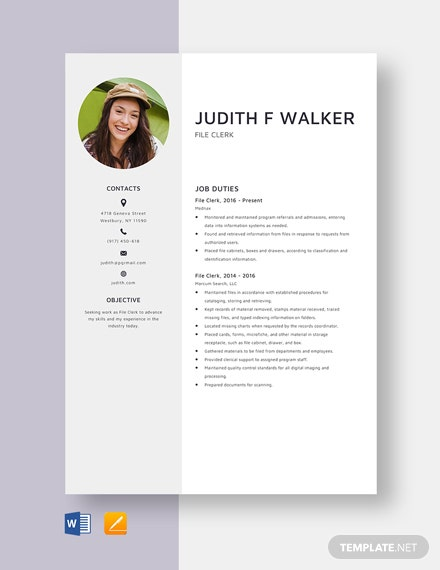 File Clerk Resume Template