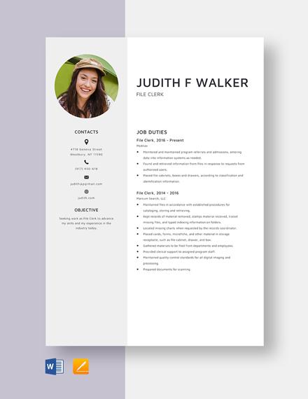 File Clerk Resume Template
