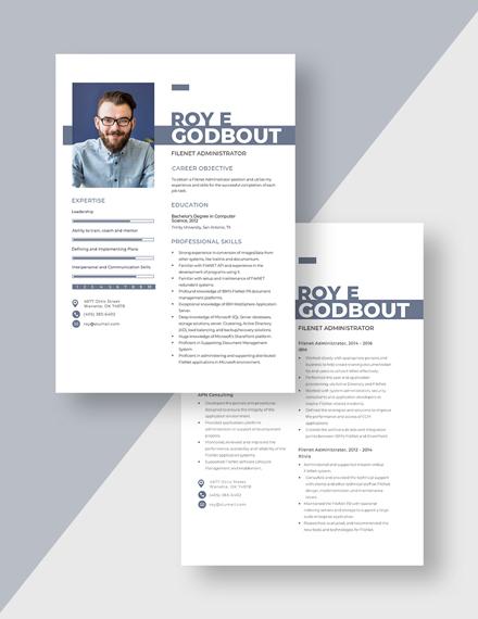 Filenet Administrator Resume Download